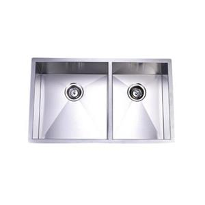 Elements of Design Gourmetier 33-in x 20-in Brushed Nickel Double Bowl Undermount Kitchen Sink
