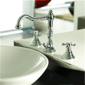WS Bath Collections Belinda Polished Chrome 3-Hole Widespread Faucet Basin Mixer Without Waste