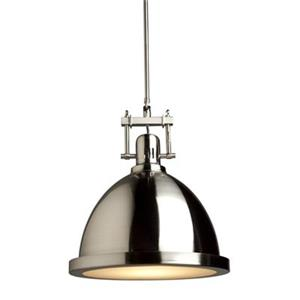 Steven & Chris by Artcraft Polished Nickel Small Broadview 1 Light Metal Pendant - Polished Nickel