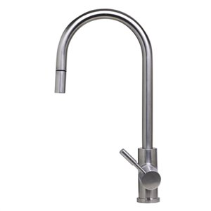 ALFI Brand 16.88-in Solid Stainless Steel Pull Down Single Hole Kitchen Faucet
