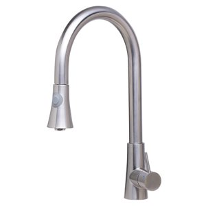 ALFI Brand 17.12-in Solid Stainless Steel Pull Down Single Hole Kitchen Faucet