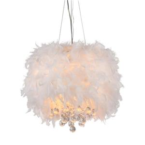 Warehouse of Tiffany  Iglesias Fluffy White Feathers and Crystal 3 Light Pendant