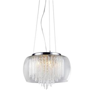 Warehouse of Tiffany Odysseus Chrome and Crystal  5 Light Large Pendant Light