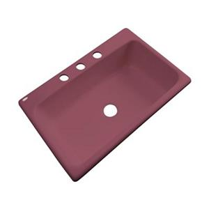 Dekor Brookwood 33-in x 22-in Raspberry Puree Single Bowl Kitchen Sink