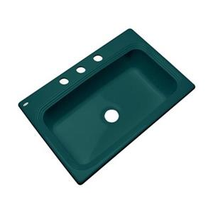 Dekor Ridgebrook 33-in x22-in Teal  Single Bowl Kitchen Sink