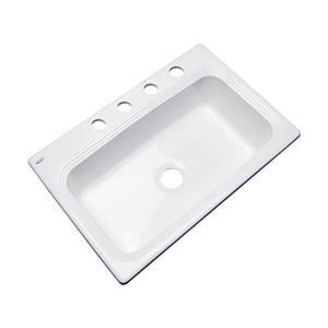 Dekor Ridgebrook 33-in x22-in White Single Bowl Kitchen Sink