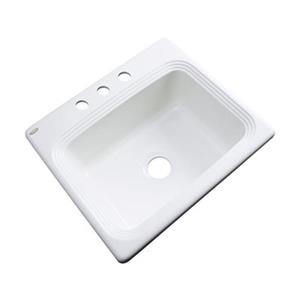 Dekor Chaumont 25-in x 22-in White Single Bowl Drop-in Kitchen Sink