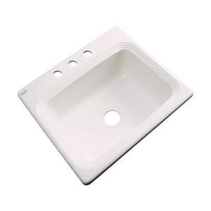 Dekor Chaumont 25-in x 22-in Bone Single Bowl Drop-in Kitchen Sink