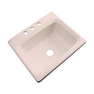 Dekor Chaumont 25-in x 22-in Peach Bisque Single Bowl Drop-in Kitchen Sink