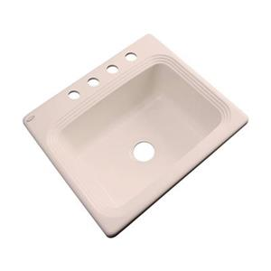 Dekor Chaumont 25-in x 22-in Peach Bisque Single Bowl Drop-in Kitchen Sink