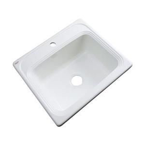 Dekor Waldorf 25-in x 22-in White Single Bowl Drop-In Kitchen Sink