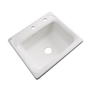 Dekor Waldorf 25-in x 22-in Biscuit Single Bowl Drop-In Kitchen Sink