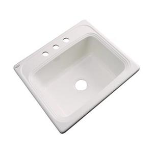 Dekor Waldorf 25-in x 22-in Bone Single Bowl Drop-In Kitchen Sink