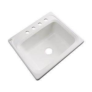 Dekor Waldorf 25-in x 22-in Biscuit Single Bowl Kitchen Sink
