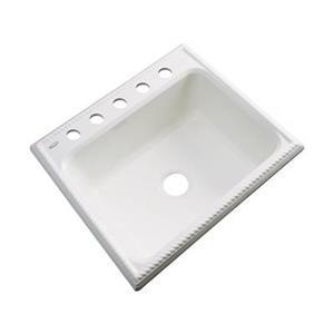 Dekor Litchfield 25-in x 22-in Biscuit Single Bowl Kitchen Sink