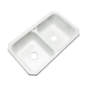 Dekor Westport 19-in x 33-in White Undermount Double Kitchen Sink