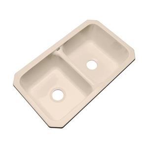 Dekor Westport 19-in x 33-in Peach Bisque Undermount Double Kitchen Sink