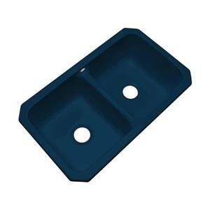 Dekor Westport 19-in x 33-in Navy Blue Undermount Double Kitchen Sink