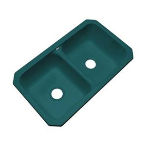 Dekor Westport 19-in x 33-in Teal Undermount Double Kitchen Sink