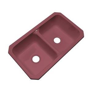Dekor Westport 19-in x 33-in Raspberry Puree Undermount Double Kitchen Sink