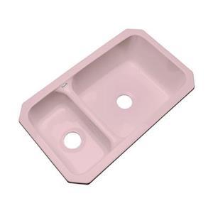 Dekor Windsor 33-in x 19-in Dusty Rose Undermount Double Bowl Kitchen Sink