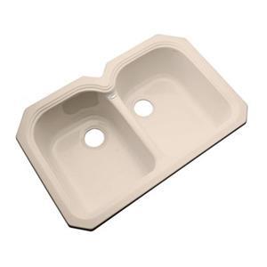 Dekor Waterford 33-in x 22-in Peach Bisque Undermount Double Bowl Kitchen Sink