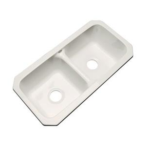 Dekor Englewood 33-in x 16-in Bone Undermount Double Bowl Kitchen Sink
