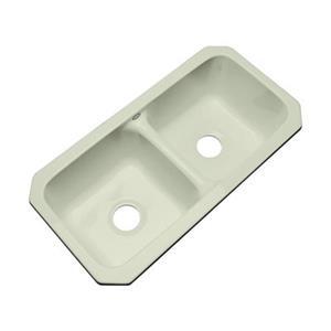 Dekor Englewood 33-in x 16-in Jersey Cream Undermount Double Bowl Kitchen Sink
