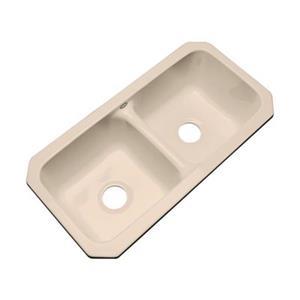 Dekor Englewood 33-in x 16-in Peach Bisque Undermount Double Bowl Kitchen Sink