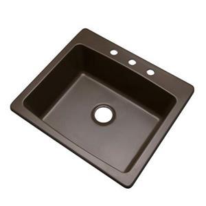 Dekor Waterbury 25-in x 22-in Mocha Kitchen Sink