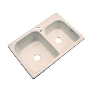 Dekor 22-in x 31-in Peach Bisque Thornbury Double Bowl Kitchen Sink