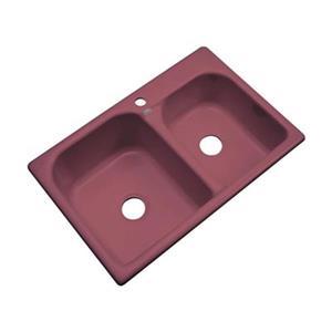 Dekor 22-in x 31-in Raspberry Puree Thornbury Double Bowl Kitchen Sink