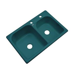 Dekor 22-in x 31-in Teal Thornbury Double Bowl Kitchen Sink