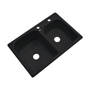 Dekor 22-in x 31-in Black Thornbury Double Bowl Kitchen Sink