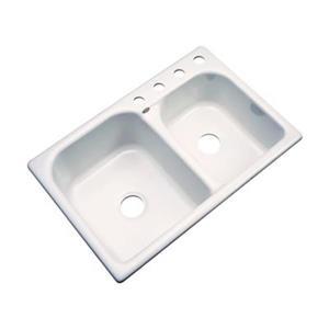 Dekor 22-in x 31-in Bone Thornbury Double Bowl Kitchen Sink