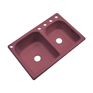 Dekor Thornbury 22-in x 33-in Raspberry Puree Double Bowl Kitchen Sink