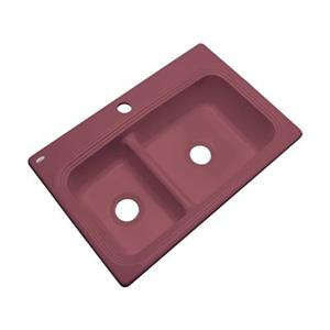 Dekor Westport 33-in x 22-in Raspberry Puree Off Set Double Bowl Kitchen Sink