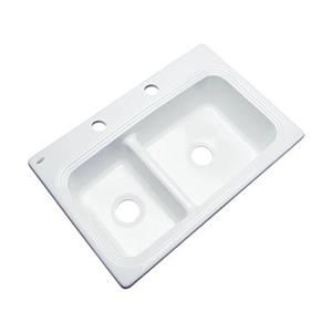 Dekor Westport 33-in x 22-in White Off Set Double Bowl Kitchen Sink