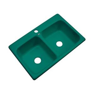 Dekor Westport 33-in x 22-in Verde Double Bowl Kitchen Sink