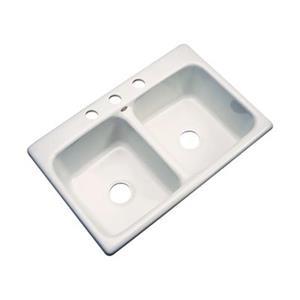 Dekor Westport 33-in x 22-in Almond Double Bowl Kitchen Sink