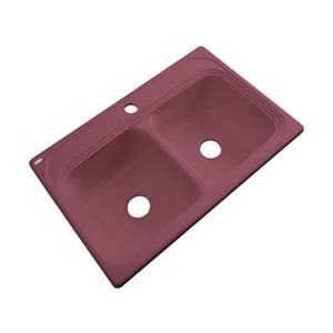 Dekor Chalmette 22-in x 33-in Raspberry Puree Double Bowl Kitchen Sink