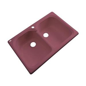 Dekor Waterford 33-in x 22-in Raspberry Puree Double Bowl Kitchen Sink