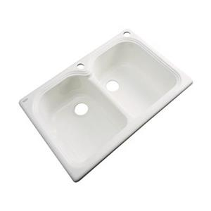 Dekor Waterford 33-in x 22-in Almond Double Bowl Kitchen Sink