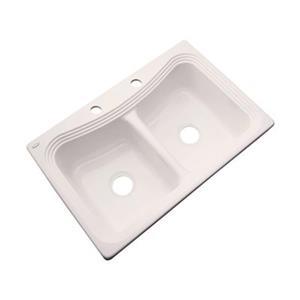 Dekor Alliston 22-in x 33-in Bone Double Bowl Kitchen Sink
