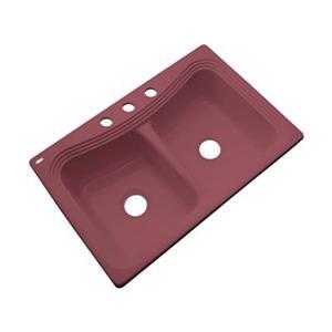 Dekor Alliston 22-in x 33-in Raspberry Puree Double Bowl Kitchen Sink