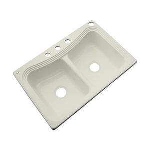 Dekor Alliston 22-in x 33-in Jersey Cream Double Bowl Kitchen Sink