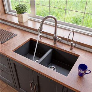 ALFI Brand 34-in Black Undermount Double Bowl Kitchen Sink