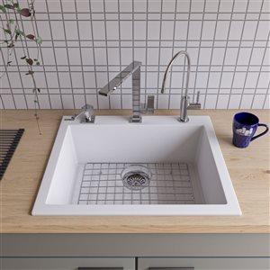ALFI Brand 24-in White Drop-In Single Bowl Kitchen Sink