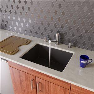 ALFI Brand 24-in Black Undermount Single Bowl Kitchen