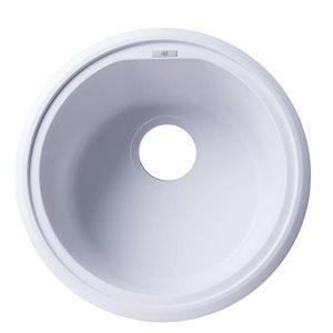 ALFI Brand 17-in White Drop-In Round Granite Composite Kitchen Prep Sink